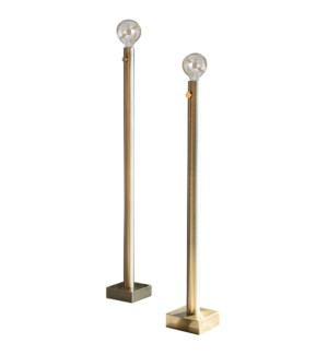 BARCLAY BRASS FLOOR LAMP- SET OF 2 | Antique Brass Finish on Metal Body | 60 Watt