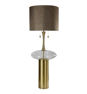 GRANT FLOOR LAMP | Matte Antique Brass Finish on Metal with Clear Glass | Hardback Shade | 100 Watt