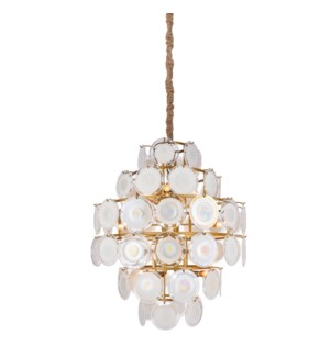 ISLA CHANDELIER | Frosted Glass Disks with Gold Finished Metal -