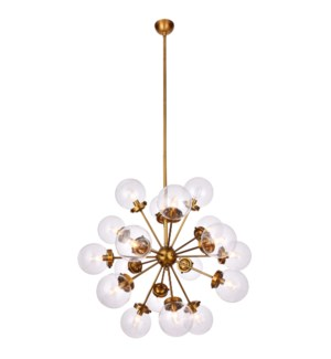 LANDON CHANDELIER | Clear Glass Globes with Brass Finished Metal