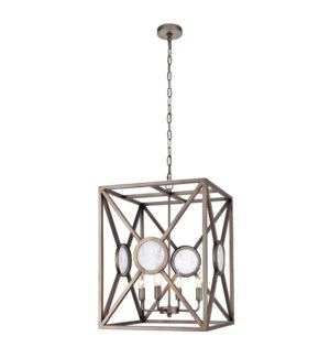GRAHAM PENDANT | Antique Glass Disks with Vintage Nickel Finished Metal