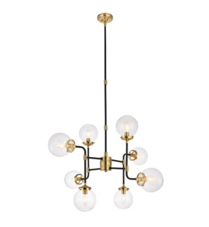 RONAN CHANDELIER | Clear Glass Globes with Black and Gold Finished Metal