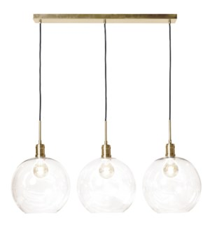 LUCA BRASS PENDANT- SMALL | Adjustable Level Clear Glass Globes with Brass Finished Metal | Adjustab