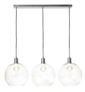 LUCA NICKEL PENDANT- SMALL | Clear Glass Globes with Nickel Finished Metal