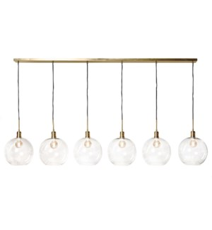 LUCA BRASS PENDANT- LARGE | Adjustable Level Clear Glass Globes with Brass Finished Metal  | Adjusta