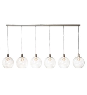 LUCA NICKEL PENDANT- LARGE | Clear Glass Globes with Nickel Finished Metal