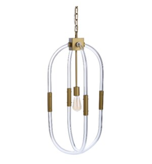 PRESCOTT PENDANT | Painted Gold Finished Metal with Plain Glass Accents