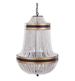 PORFINO CHANDELIER | Natural Wood Bead Body with Gold and Black Metal Accents