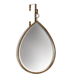 HAILE MIRROR- TEARDROP | Antique Gold Finish on Metal Frame | Plain Glass Beveled Mirror