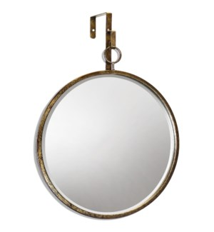 HAILE MIRROR- ROUND | Antique Gold Finish on Metal Frame | Plain Glass Beveled Mirror