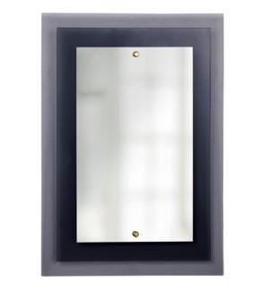 DOVE MIRROR   Smoke Finish on Glass Frame   Plain Glass Beveled Mirror