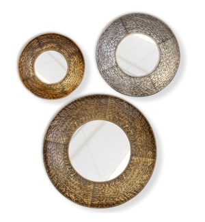 REGINA MIRROR- SET OF 3 | Gold  Silver and Bronze Finishes on Metal Frame | Plain Glass Beveled Mirr