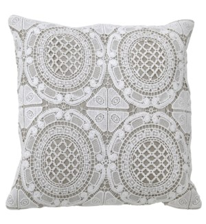 WESTON PILLOW- IVORY | Lace on Cotton | Down Feather Insert