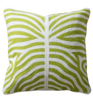 ELLIOTT PILLOW- GREEN | Hand Embroidered Wool on Cotton | Down Feather Insert