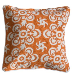LOWRY PILLOW- ORANGE | Hand Embroidered Wool on Cotton | Down Feather Insert