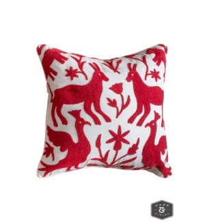 EDEN PILLOW- RED | Hand Embroidered Wool on Cotton | Down Feather Insert