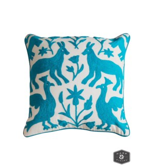 EDEN PILLOW- TURQUOISE | Hand Embroidered Wool on Cotton | Down Feather Insert