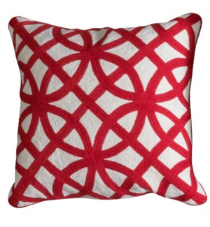 BEDFORD PILLOW- RED | Hand Embroidered Wool on Cotton | Down Feather Insert