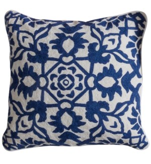 CAROLINE PILLOW- NAVY | Hand Embroidered Wool on Cotton | Down Feather Insert