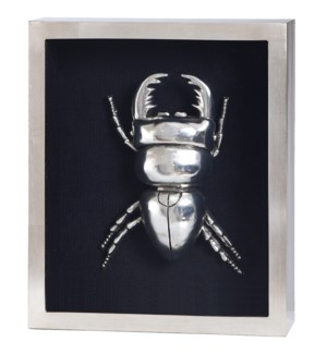 SILVER BEETLE I FRAMED ART | Silver Leaf Finish on Metal Body in Shadow Box | 4 inch Frame