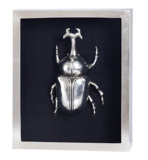 SILVER BEETLE III FRAMED ART | Silver Leaf Finish on Metal Body in Shadow Box | 4 inch Frame