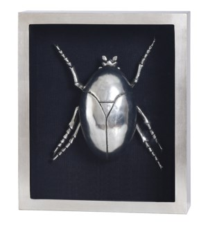 SILVER BEETLE IV FRAMED ART | Silver Leaf Finish on Metal Body in Shadow Box | 4 inch Frame