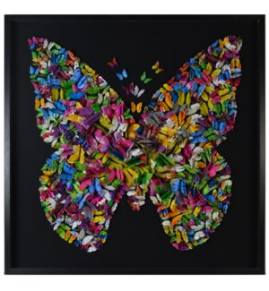 PAPILLON FRAMED ART | Paper Butterfly Art | 2.5 inch Black Shadowbox Frame