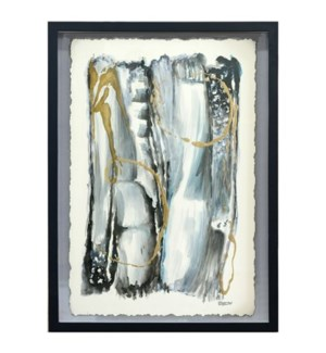 SIDE SWIPE II FRAMED ART | Hand Painted Abstract on Paper | 2.25 inch Frame