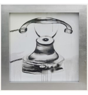 TELEPHONE FRAMED ART | Hand Painted Vintage Telephone | 3.5 inch Frame
