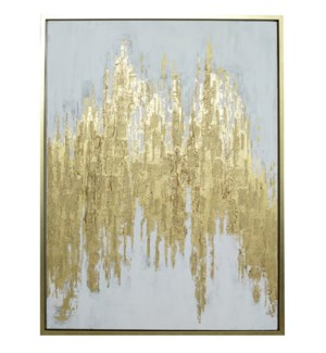 MANHATTAN FRAMED CANVAS ART   Hand Painted Abstract   1.5 inch Frame
