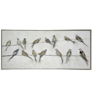 BIRDS ON WIRE FRAMED CANVAS ART | Hand Painted Abstract Birds | 1.5 inch Frame
