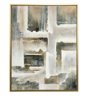 LEON FRAMED CANVAS ART- SMALL | Hand Painted Abstract | 1.5 Inch Frame