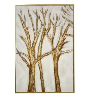 OAK I FRAMED CANVAS ART | Hand Painted Abstract Trees | 1.5 inch Frame