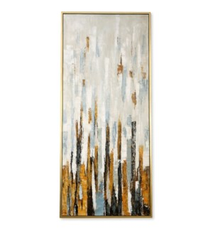 TOWERS OF GOLD FRAMED CANVAS ART | Hand Painted Abstract | 1.5 inch Frame