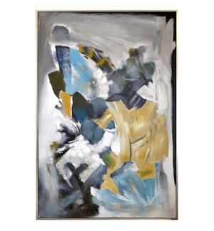 TOBIAS FRAMED CANVAS ART   Hand Painted Abstract   1.5 inch Frame