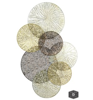 SAHARA METAL ART | Gold  Silver and Iron Finish on Metal Disk Wall Sculpture