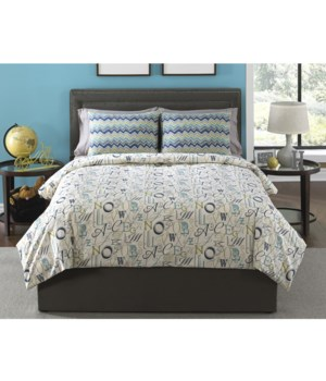 Alphabet Soup 4 pc Full Comforter Set (Made In USA)