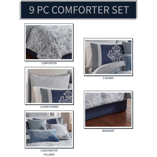 Charles 9 pc Queen Comforter Set