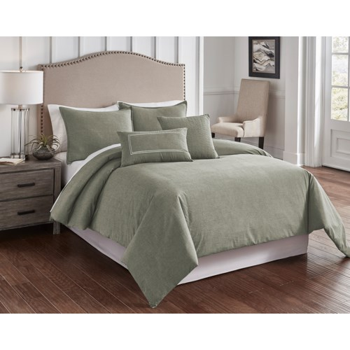 Chambray Sage 6 pc King Comf. Cover Set
