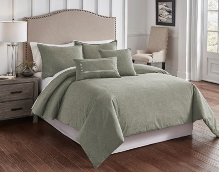 Chambray Sage 6 pc Queen Comf. Cover Set