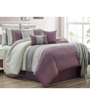 Ashley Plum 10pc Queen Comforter Set