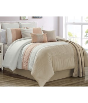 Ashley Coral/ Taupe 10pc Queen Comforter Set
