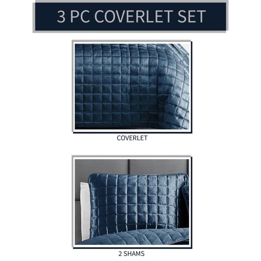 Luxe Cobalt Blue 3PC King Velvet Coverlet