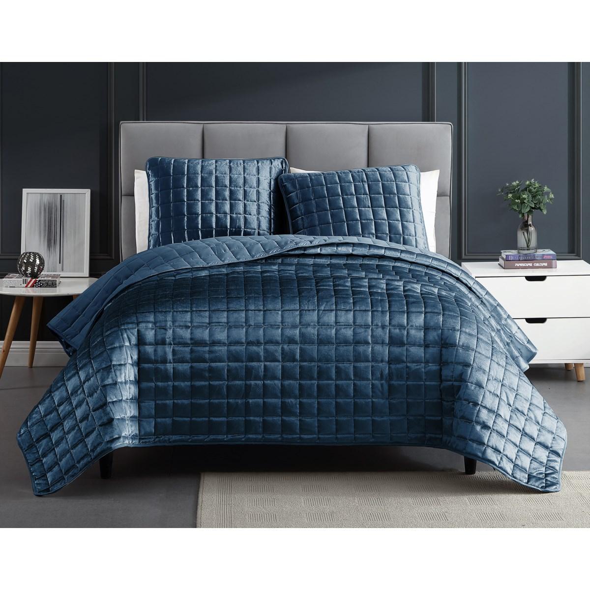 Luxe Cobalt Blue 3PC F/Q Velvet Coverlet