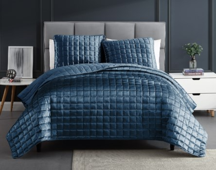 Mansfield 3PC Blue F/Q Crinkle Coverlet