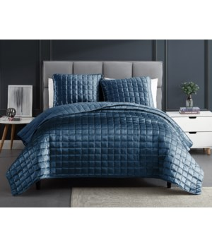 Luxe Cobalt Blue 3PC F/Q Velvet Coverlet