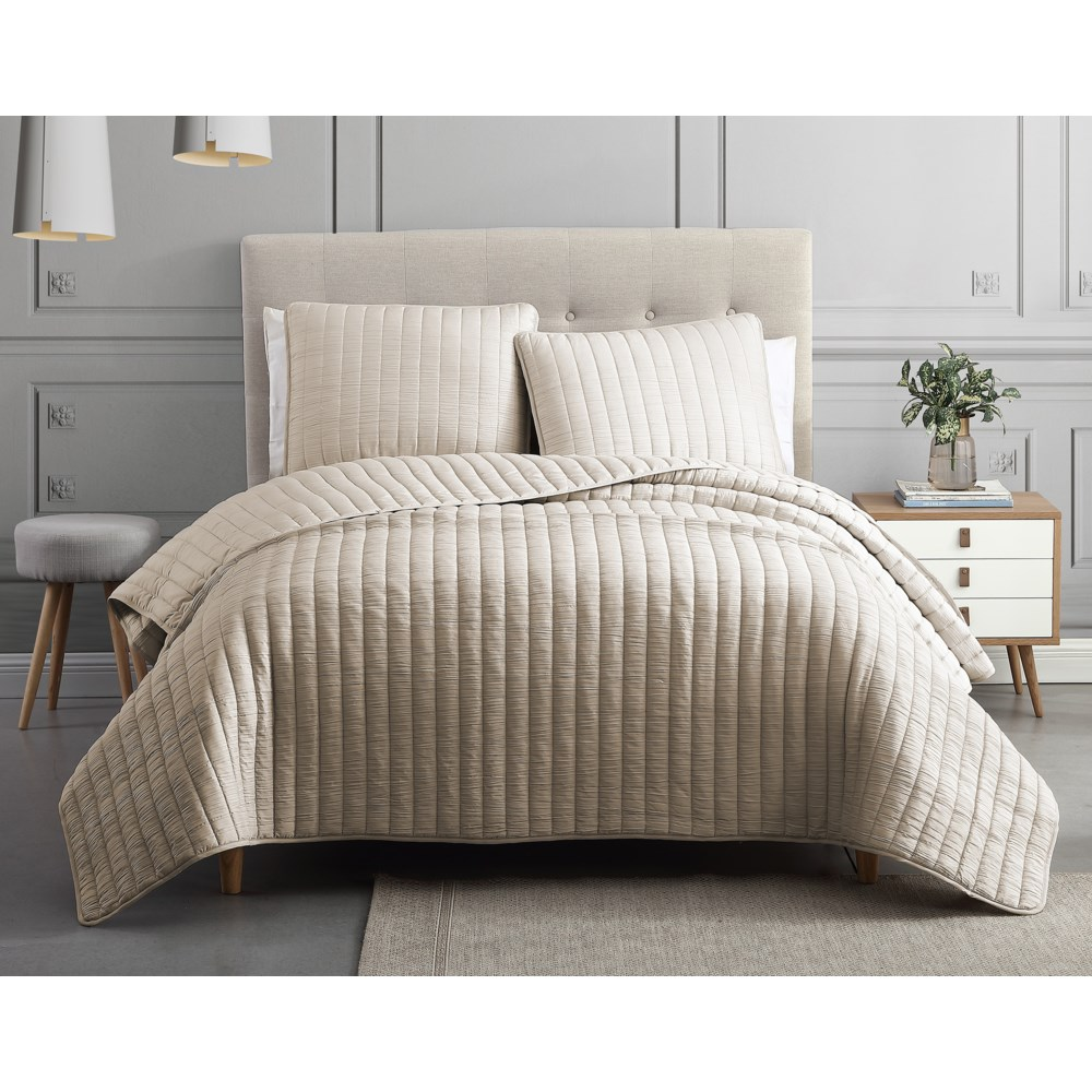 Mansfield 3PC Tan F/Q Crinkle Coverlet