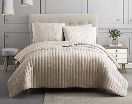 Mansfield 3PC Taupe F/Q Crinkle Coverlet