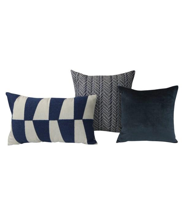 Daizo 3 pc Pillow Set  - Blue