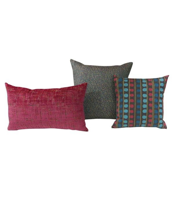 Odyssey 3 pc Pillow Set  - Fuchsia